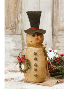 "Primitive Country Burlap Snowman With Scarf And Wreath Winter/Christmas 10"" by Ebay Seller"