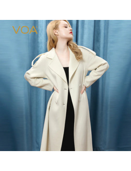 Voa Snow Plateau Cashmere Pure White Lapel With Long Sleeves And Raglan Tie Waist Double Side Fine Cashmere Coat by Ali Express.Com