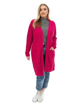 Pink Longline Fisherman Rib Cardigan by Simply Be