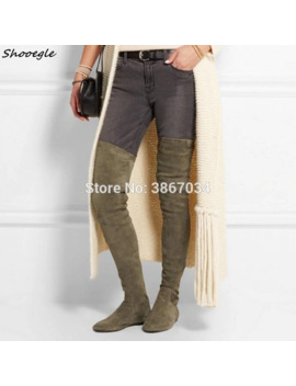 Shooegle Sapatos Feminino Black Army Green Thigh High Boots Lady Suede Leather Flats Stretchy Over The Knee Booties Women Winter by Ali Express.Com