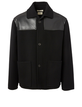 Wool Jacket With Leather Detail by Holt Renfrew