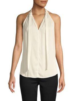 Devin Tie Neck Keyhole Sleeveless Silk Blend Blouse by Kobi Halperin