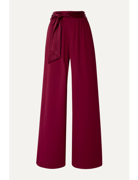 Merna Satin Trimmed Crepe Wide Leg Pants by Alice + Olivia