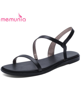 Memunia 2019 Big Size 43 Women Sandals Genuine Leather Shoes Slip On Summer Shoes Simple Beach Shoes Ladies Casual Shoes Woman by Ali Express.Com