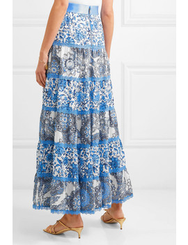 Satin And Lace Trimmed Floral Print Crepe De Chine Maxi Skirt by Alice + Olivia
