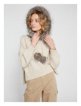 Oscar Fur Trim Oversized Hoodie by Alice And Olivia