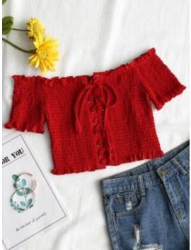 Hot Sale Lace Up Off Shoulder Smocked Top   Red S by Zaful