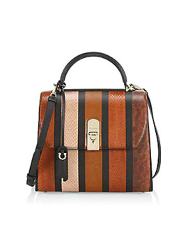 Large Boxyz Leather Trimmed Snakeskin Top Handle Bag by Salvatore Ferragamo