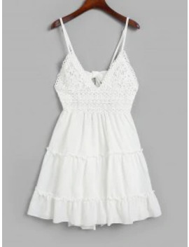 Hot Knotted Back Crochet Panel Flared Cami Dress   White S by Zaful