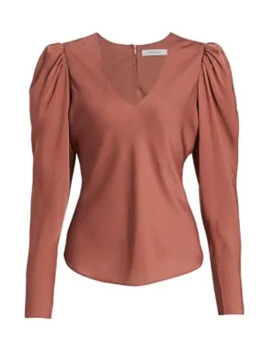 Shirred Puff Sleeve Silk Blouse by Frame