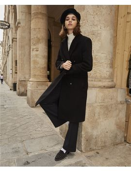 Double Breasted Long Black Wool Coat by The Kooples