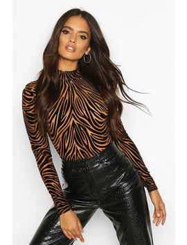 Devore High Neck Long Sleeve Bodysuit by Boohoo