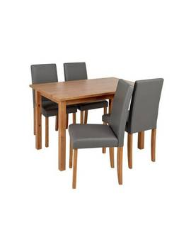 Argos Home Ashdon Solid Wood Dining Table & 4 Grey Chairs706/7981 by Argos
