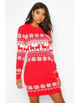 Tall Fairisle Festive Knitted Dress by Boohoo