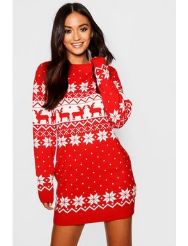 Petite Fairisle Christmas Jumper Dress by Boohoo