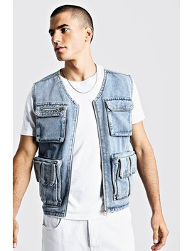 Denim Multi Pocket Utility Vest by Boohoo