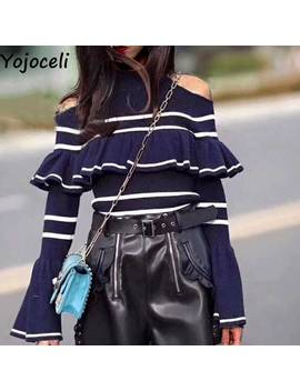Yojoceli Cold Shoulder Striped Ruffle Knitted Sweater Women Autumn Winter Soft Sweater Pullover Flare Sleeve Chic Jumper Female by Ali Express