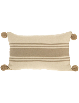 Beige Striped Pom Pillow Cover by Hobby Lobby