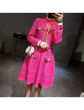 2018 Chic Ruffled Neck Long Sleeve Sweater Dress Ol Rose Pink With Buttons Pockets Striped Knit Dress A Line Women Dress Elegant by Ali Express