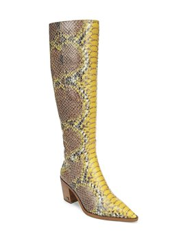 Lindsey Tall Snake Print Leather Block Heel Boots by Sam Edelman