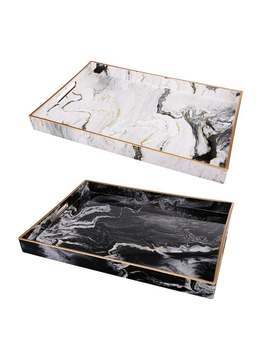 Quinn Black And White Marble Rectangular Trays by A And B Home