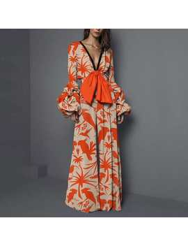 Plus Size Print Patchwork Jumpsuit Women Sexy Deep V Neck Long Sleeve Women Jumpsuit Elegant Slim Wide Leg Jumpsuit by Ali Express