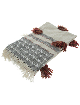 Cream & Black Striped Throw Blanket With Tassels by Hobby Lobby