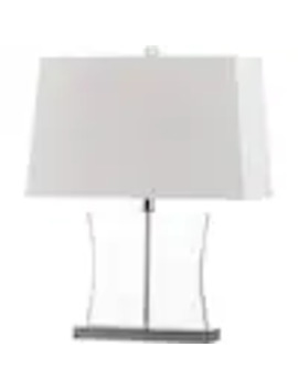 Safavieh Salcha 23.5 In Clear Fluorescent Rotary Socket Table Lamp With Fabric Shade by Lowe's