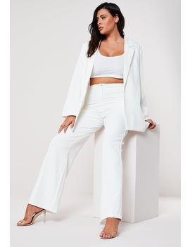 Plus Size White Seam Detail Straight Trousers by Missguided