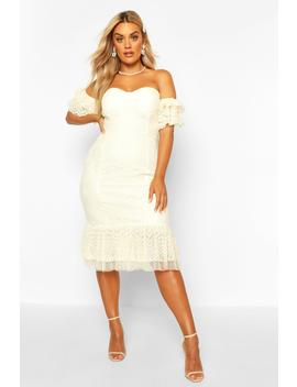 Plus Lace Bardot Frill Detail Midi Dress by Boohoo