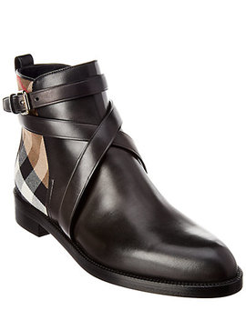 Burberry House Check & Leather Bootie by Burberry