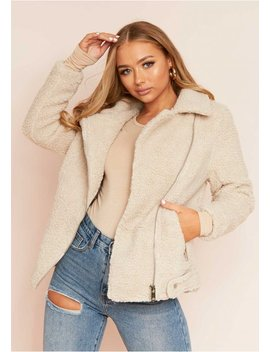 Belin Beige Teddy Borg Biker Jacket by Missy Empire