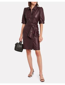 Aliah Tie Waist Leather Skirt by Gestuz