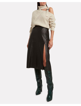 Paneled Leather Midi Skirt by Intermix