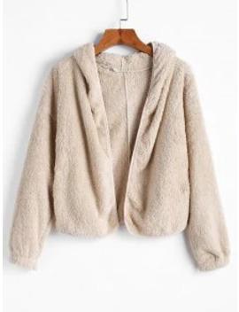 Sale Hooded Pocket Drop Shoulder Fuzzy Jacket   Beige M by Zaful