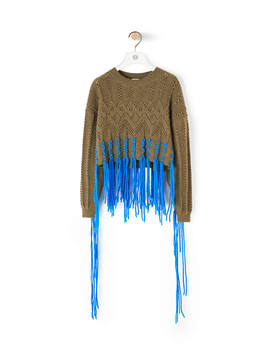 Cropped Woven Fringe Sweater       Khaki Green/Blue by Loewe