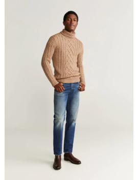 Jeans Slim Fit Lavado Oscuro Desgastado by Mango