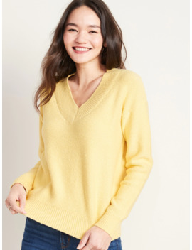 Cozy Bouclé V Neck Sweater For Women by Old Navy