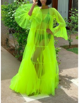Neon Green Patchwork Grenadine Pleated Sheer Rave Party Maxi Dress by Cichic