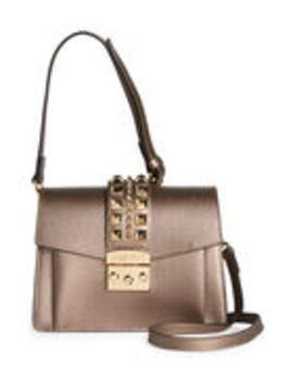 Bronze Adin Palmellato Leather Satchel by Valentino By Mario Valentino