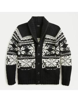 Merino Wool Snowflake Shawl Cardigan In Reverse Knit Jacquard by J.Crew