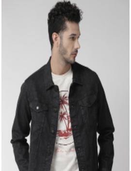 Men Black Solid Denim Jacket by Marks & Spencer
