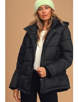 Winning Style Black Puffer Jacket by Lulu's