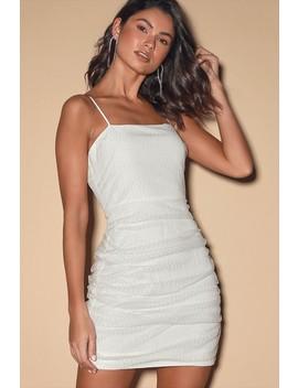 Ayla White Glitter Mesh Sleeveless Bodycon Mini Dress by East Order