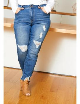 Asoph Curvy Womens Medium Washed Ankle Distressed Jeans by Asoph