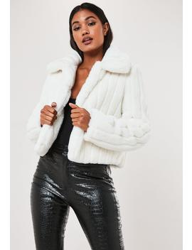 White Crop Pelted Faux Fur Coat by Missguided