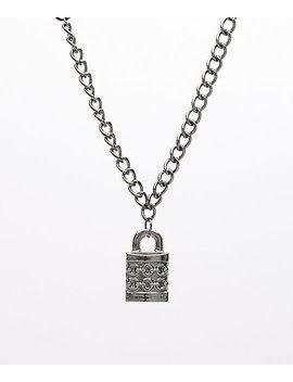 "Stone + Locket Padlock Gunmetal 24"" Necklace by Stone + Locket"