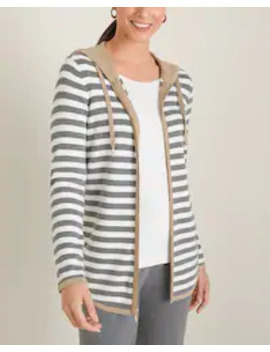 Cotton Cashmere Blend Lurex Striped Hooded Jacket by Zenergy
