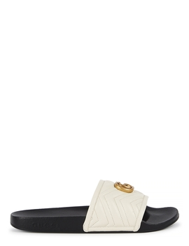 Pursuit Gg Ecru Leather Sliders by Gucci