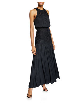 Metallic Memory Georgette Floral Applique Sleeveless Gown by Halston